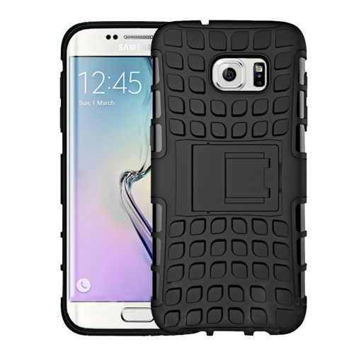 For Samsung Galaxy S7 / G930 2 in 1 Double Colored Tire Texture Combination Case with Separable Black Holder, Black