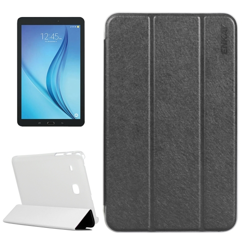 Buy ENKAY Silk Texture PU Horizontal Flip PU Leather Case with Translucent Frosted Plastic Back Shell & Three-folding Holder for Samsung Galaxy Tab E 8.0 / T377 / T375, Black for $4.73 in SUNSKY store