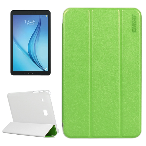Buy ENKAY Silk Texture PU Horizontal Flip PU Leather Case with Translucent Frosted Plastic Back Shell & Three-folding Holder for Samsung Galaxy Tab E 8.0 / T377 / T375, Green for $4.73 in SUNSKY store