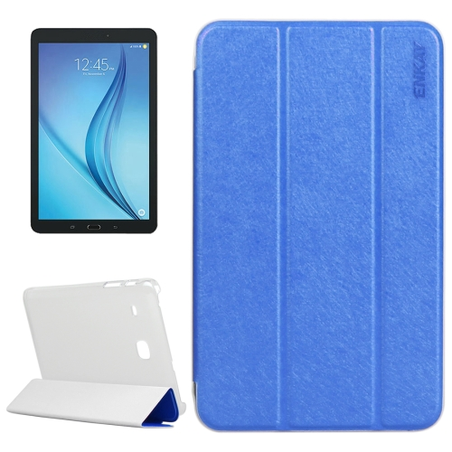 Buy ENKAY Silk Texture PU Horizontal Flip PU Leather Case with Translucent Frosted Plastic Back Shell & Three-folding Holder for Samsung Galaxy Tab E 8.0 / T377 / T375, Blue for $4.73 in SUNSKY store