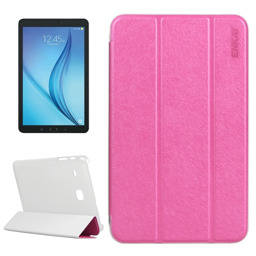 Buy ENKAY Silk Texture PU Horizontal Flip PU Leather Case with Translucent Frosted Plastic Back Shell & Three-folding Holder for Samsung Galaxy Tab E 8.0 / T377 / T375, Magenta for $4.73 in SUNSKY store