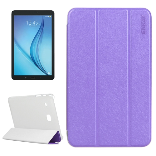 Buy ENKAY Silk Texture PU Horizontal Flip PU Leather Case with Translucent Frosted Plastic Back Shell & Three-folding Holder for Samsung Galaxy Tab E 8.0 / T377 / T375, Purple for $4.73 in SUNSKY store