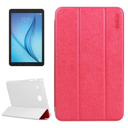 ENKAY Silk Texture PU Horizontal Flip PU Leather Case with Translucent Frosted Plastic Back Shell & Three-folding Holder for Samsung Galaxy Tab E 8.0 / T377 / T375, Red