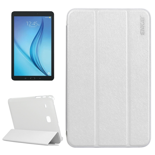 Buy ENKAY Silk Texture PU Horizontal Flip PU Leather Case with Translucent Frosted Plastic Back Shell & Three-folding Holder for Samsung Galaxy Tab E 8.0 / T377 / T375, White for $4.73 in SUNSKY store