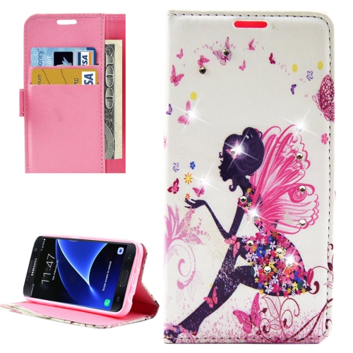 Buy For Samsung Galaxy S7 / G930 Fashion Lady Butterflies Pattern Diamond Encrusted Horizontal Flip Leather Case with Holder & Card Slots & Wallets for $2.86 in SUNSKY store