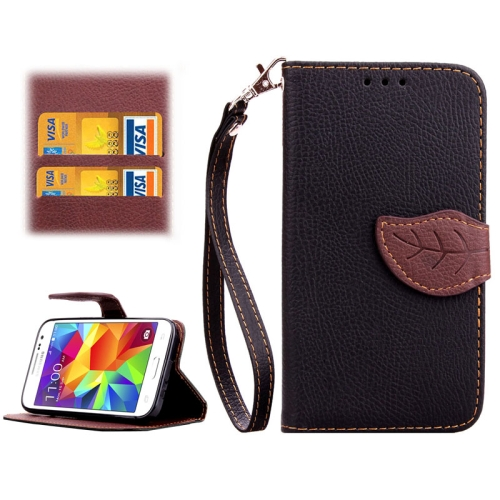 Buy Leaf Magnetic Snap Litchi Texture Horizontal Flip Leather Case with Card Slots & Wallet & Holder & Lanyard for Samsung Galaxy Core Prime / G360, Black for $2.54 in SUNSKY store