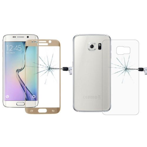 Buy 0.3mm 9H Surface Hardness 3D Curved Surface Full Screen Cover Explosion-proof Tempered Glass Front Film + 2.5D Back Film for Samsung Galaxy S6 Edge+ / G928, Gold for $2.67 in SUNSKY store