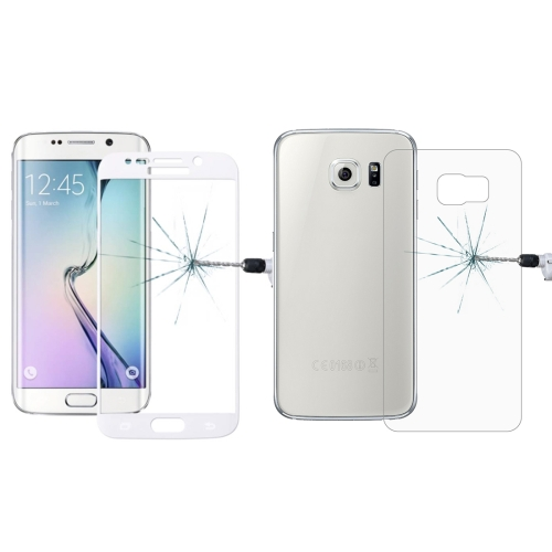 Buy 0.3mm 9H Surface Hardness 3D Curved Surface Full Screen Cover Explosion-proof Tempered Glass Front Film + 2.5D Back Film for Samsung Galaxy S6 Edge+ / G928, White for $2.67 in SUNSKY store