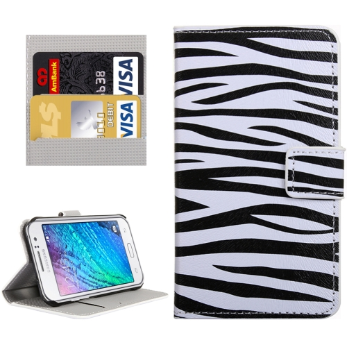 Buy For Samsung Galaxy J1 Ace / J110 Zebra Patterns Horizontal Flip Leather Case with Magnetic Snap & Card Slots & Holder & Wallet for $2.30 in SUNSKY store