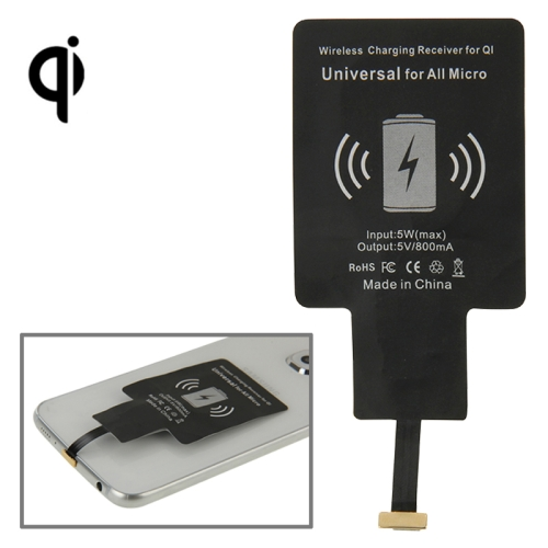 Wireless Charging Receiver, For QI, Universal for All Micro(Black)