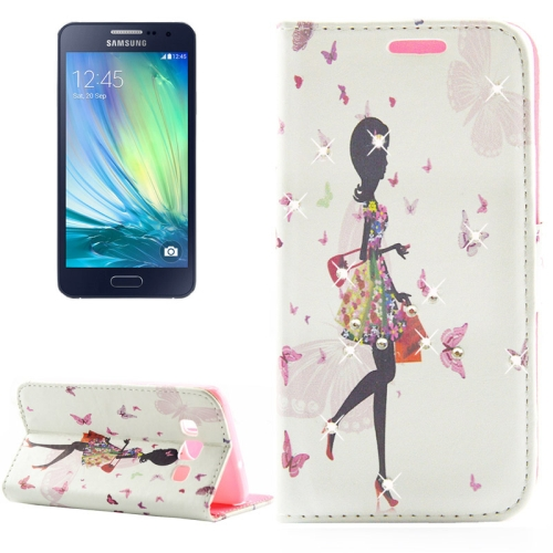 Buy Fashion Lady Pattern Diamond Encrusted Horizontal Flip Leather Case with Holder & Card Slots for Samsung Galaxy A3 / A300F for $2.86 in SUNSKY store