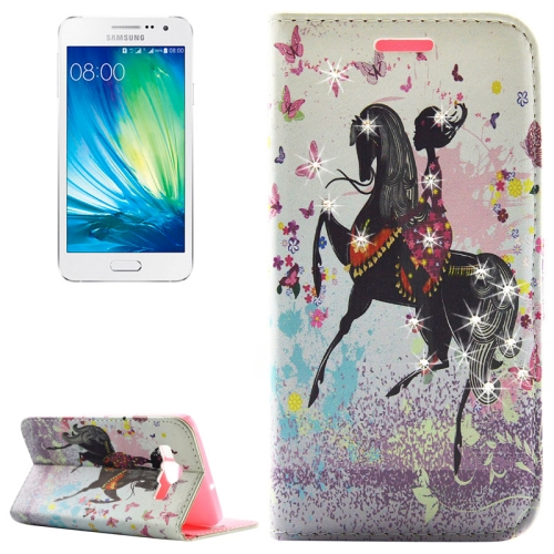 Fashion Lady Pattern Diamond Encrusted Horizontal Flip Leather Case with Holder & Card Slots for Samsung Galaxy A5 / A500