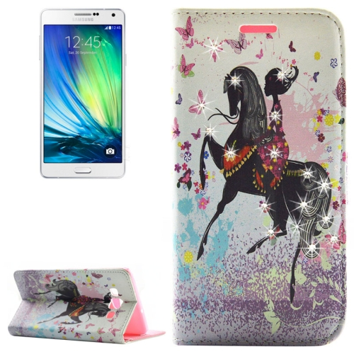 Buy Fashion Lady Pattern Diamond Encrusted Horizontal Flip Leather Case with Holder & Card Slots for Samsung Galaxy A7 / A700F for $2.86 in SUNSKY store