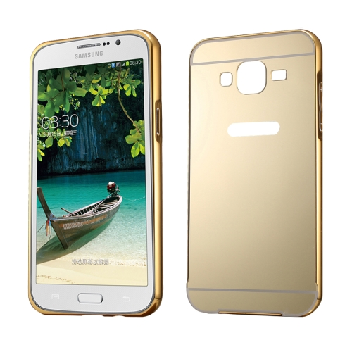 Fashionable Electroplating Push Pull Back Shell Cover + Metal Bumper Frame for Samsung Galaxy Mega 5.8 / i9152, Gold