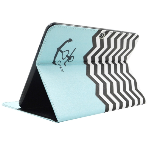 Buy Stripes and Anchor Pattern Leather Case with Holder & Card Slots & Wallet for Samsung Galaxy Tab 4 10.1 / T530 for $5.86 in SUNSKY store