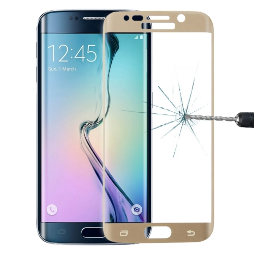 0.3mm 9H Surface Hardness 3D Curved Surface Full Screen Cover Explosion-proof Tempered Glass Film for Galaxy S6 edge(Gold)
