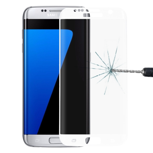For Galaxy S7 Edge / G935 0.26mm 9H Surface Hardness 3D Explosion-proof Colorized Silk-screen Tempered Glass Full Screen Film(White) фото