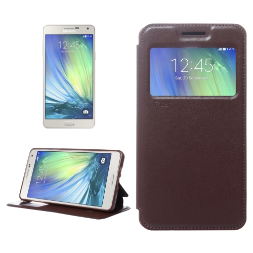 Crazy Horse Texture Horizontal Flip Leather Case with Card Slots & Call Display ID & Holder for Samsung Galaxy A7, Brown