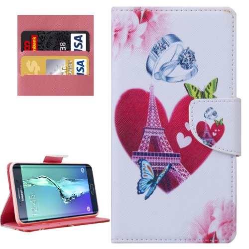 Buy For Samsung Galaxy S6 Edge+ / G928 Romantic Heart and Diamond Ring Patterns Horizontal Flip Leather Case with Holder & Card Slots & Wallet for $2.30 in SUNSKY store