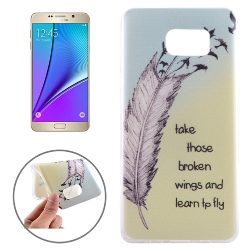 Buy Ultrathin Feather and Words Pattern TPU Protective Case for Samsung Galaxy Note 5 / N920 for $1.16 in SUNSKY store