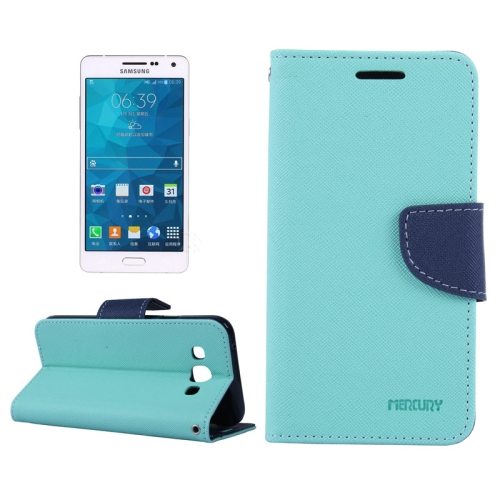 Buy MERCURY Cross Texture Contrast Color Style Leather Case with Holder & Card Slots & Wallet for Samsung Galaxy A5 / A500, Blue for $2.16 in SUNSKY store