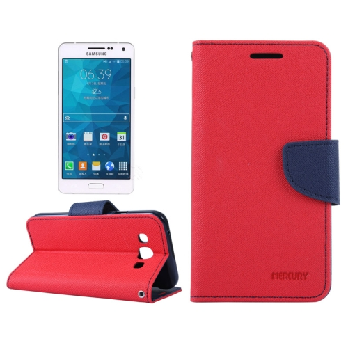 Buy MERCURY Cross Texture Contrast Color Style Leather Case with Holder & Card Slots & Wallet for Samsung Galaxy A5 / A500, Red for $2.16 in SUNSKY store