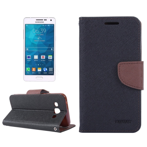 Buy MERCURY Cross Texture Contrast Color Style Leather Case with Holder & Card Slots & Wallet for Samsung Galaxy A5 / A500 (Black+Brown) for $2.16 in SUNSKY store