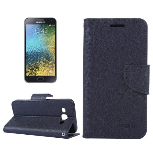 Buy MERCURY Cross Texture Contrast Color Style Leather Case with Holder & Card Slots & Wallet for Samsung Galaxy E5 / E500, Black for $2.16 in SUNSKY store