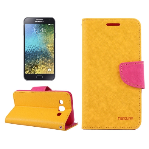Buy MERCURY Cross Texture Contrast Color Style Leather Case with Holder & Card Slots & Wallet for Samsung Galaxy E5 / E500, Orange for $2.16 in SUNSKY store