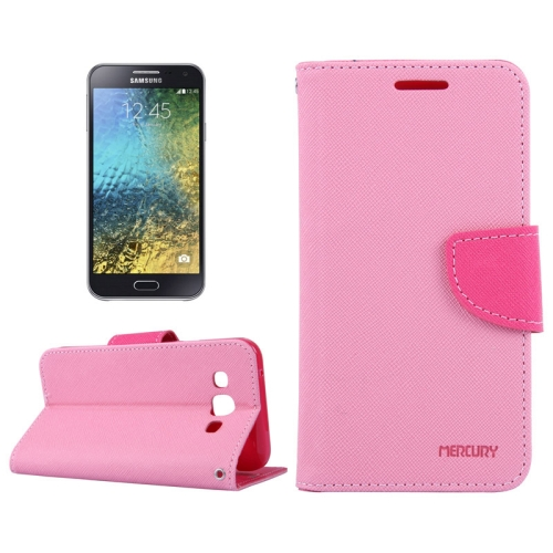 Buy MERCURY Cross Texture Contrast Color Style Leather Case with Holder & Card Slots & Wallet for Samsung Galaxy E5 / E500, Pink for $2.16 in SUNSKY store