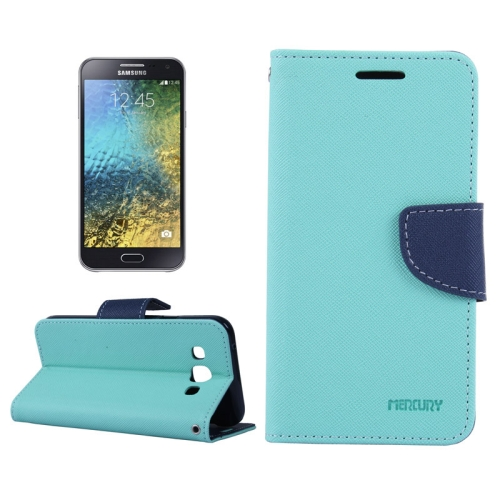 Buy MERCURY Cross Texture Contrast Color Style Leather Case with Holder & Card Slots & Wallet for Samsung Galaxy E5 / E500, Blue for $2.16 in SUNSKY store