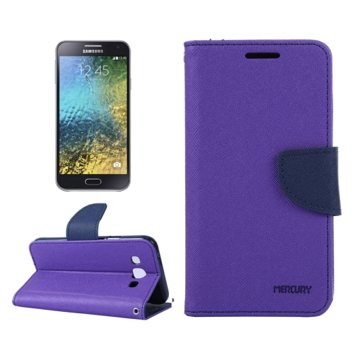 Buy MERCURY Cross Texture Contrast Color Style Leather Case with Holder & Card Slots & Wallet for Samsung Galaxy E5 / E500, Purple for $2.16 in SUNSKY store