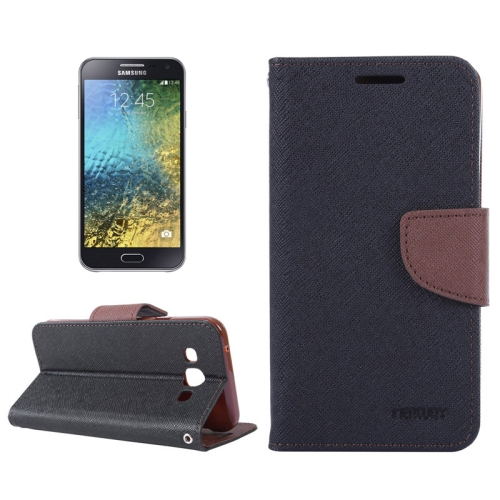 MERCURY Cross Texture Contrast Color Style Leather Case with Holder & Card Slots & Wallet for Samsung Galaxy E5 / E500 (Black+Brown)