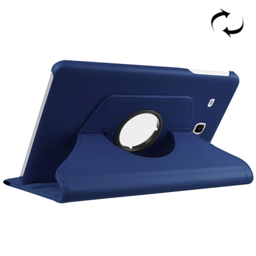 Litchi Texture Horizontal Flip Solid Color Leather Case with 360 Degrees Rotation Holder for Galaxy Tab E 9.6 / T560 / T561(Dark Blue)