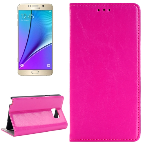 SUNSKY - Crazy Horse Texture Horizontal Flip Solid Color Genuine Leather Case with Holder and Card Slot for Galaxy Note 5 / N920(Magenta)