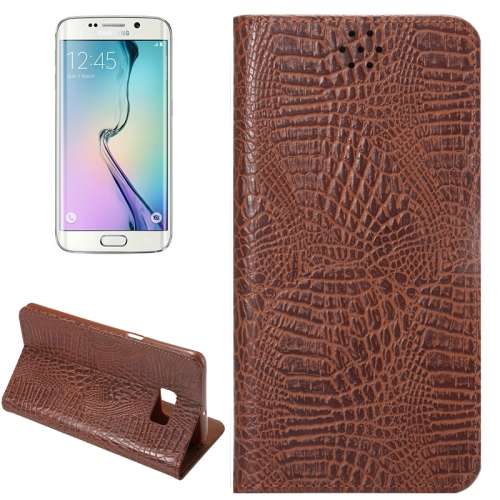 Buy For Samsung Galaxy S6 Edge+ / G928 Crocodile Texture Horizontal Flip Solid Color Leather Case with Magnetic Buckle & Holder & Card Slot, Coffee for $2.43 in SUNSKY store