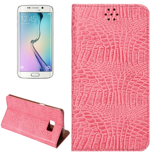 Buy For Samsung Galaxy S6 Edge+ / G928 Crocodile Texture Horizontal Flip Solid Color Leather Case with Magnetic Buckle & Holder & Card Slot, Pink for $2.43 in SUNSKY store