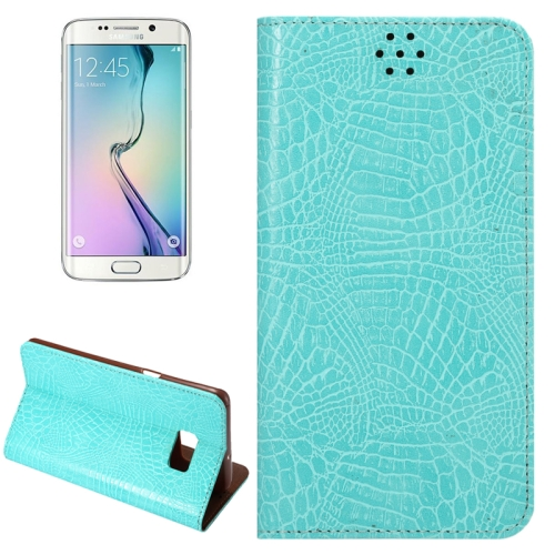 Buy For Samsung Galaxy S6 Edge+ / G928 Crocodile Texture Horizontal Flip Solid Color Leather Case with Magnetic Buckle & Holder & Card Slot, Blue for $2.43 in SUNSKY store