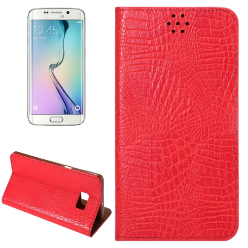 Buy For Samsung Galaxy S6 Edge+ / G928 Crocodile Texture Horizontal Flip Solid Color Leather Case with Magnetic Buckle & Holder & Card Slot, Red for $2.43 in SUNSKY store