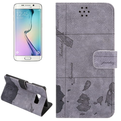 Buy For Samsung Galaxy S6 Edge+ / G928 Map Pattern Horizontal Flip Leather Case with Wallet & Card Slots & Holder, Grey for $2.36 in SUNSKY store
