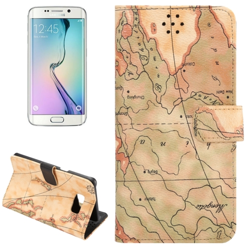 Buy For Samsung Galaxy S6 Edge+ / G928 Map Pattern Horizontal Flip Leather Case with Wallet & Card Slots & Holder, Yellow for $2.36 in SUNSKY store