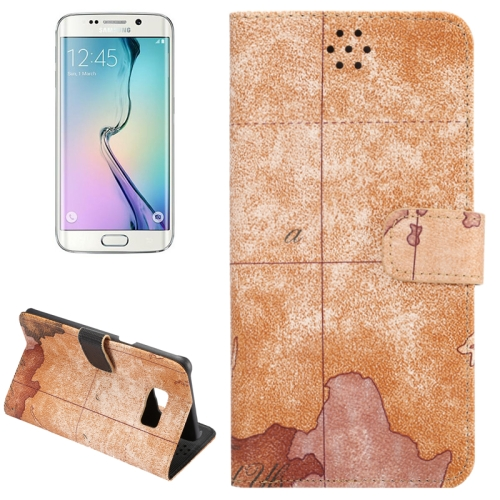 Buy For Samsung Galaxy S6 Edge+ / G928 Map Pattern Horizontal Flip Leather Case with Wallet & Card Slots & Holder, Brown for $2.36 in SUNSKY store
