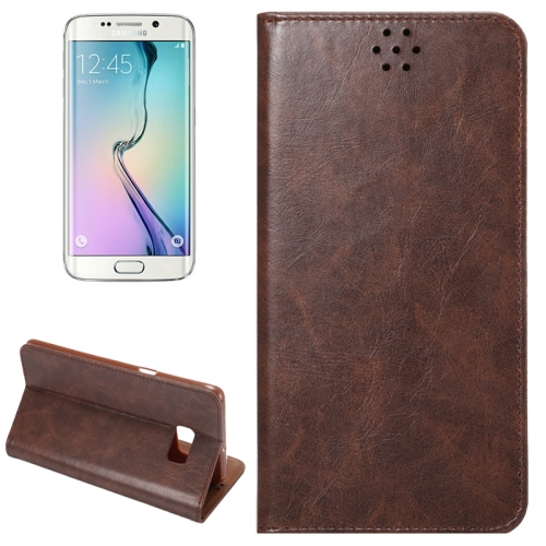Buy For Samsung Galaxy S6 Edge+ / G928 Crazy Horse Texture Horizontal Flip Leather Case with Magnetic Buckle & Card Slot & Holder, Coffee for $2.26 in SUNSKY store