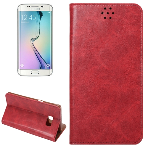 For Samsung Galaxy S6 Edge+ / G928 Crazy Horse Texture Horizontal Flip Leather Case with Magnetic Buckle & Card Slot & Holder, Red
