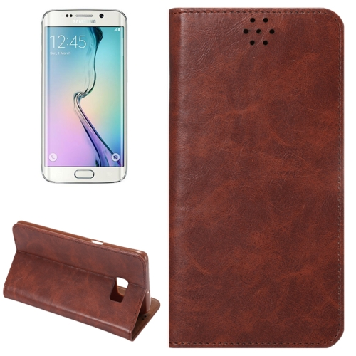 Buy For Samsung Galaxy S6 Edge+ / G928 Crazy Horse Texture Horizontal Flip Leather Case with Magnetic Buckle & Card Slot & Holder, Brown for $2.26 in SUNSKY store