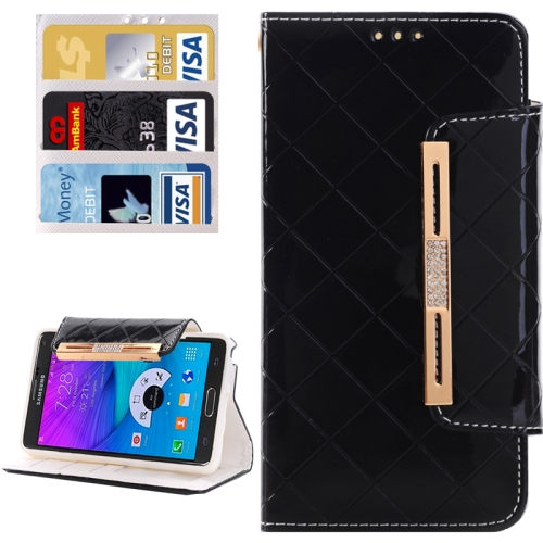 Buy Grid Texture Horizontal Flip Diamond Encrusted Leather Case with Wallet & Card Slot & Holder & Lanyard for Samsung Galaxy Note 5 / N920, Black for $3.94 in SUNSKY store