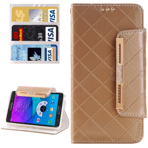 Buy Grid Texture Horizontal Flip Diamond Encrusted Leather Case with Wallet & Card Slot & Holder & Lanyard for Samsung Galaxy Note 5 / N920, Gold for $3.94 in SUNSKY store