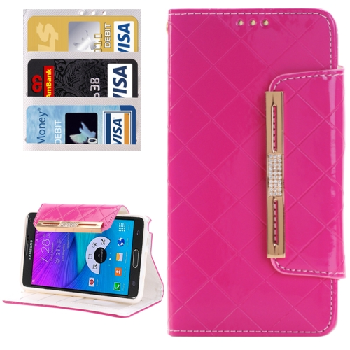 Grid Texture Horizontal Flip Diamond Encrusted Leather Case with Wallet & Card Slot & Holder & Lanyard for Samsung Galaxy Note 5 / N920, Magenta