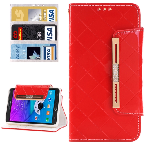 Buy Grid Texture Horizontal Flip Diamond Encrusted Leather Case with Wallet & Card Slot & Holder & Lanyard for Samsung Galaxy Note 5 / N920, Red for $3.94 in SUNSKY store