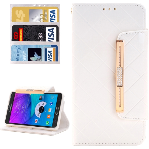 Buy Grid Texture Horizontal Flip Diamond Encrusted Leather Case with Wallet & Card Slot & Holder & Lanyard for Samsung Galaxy Note 5 / N920, White for $3.94 in SUNSKY store